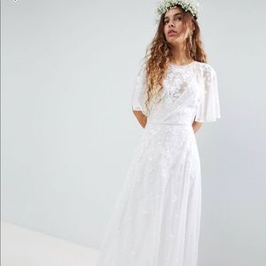 ASOS Edition embroidered flutter maxi wedding
